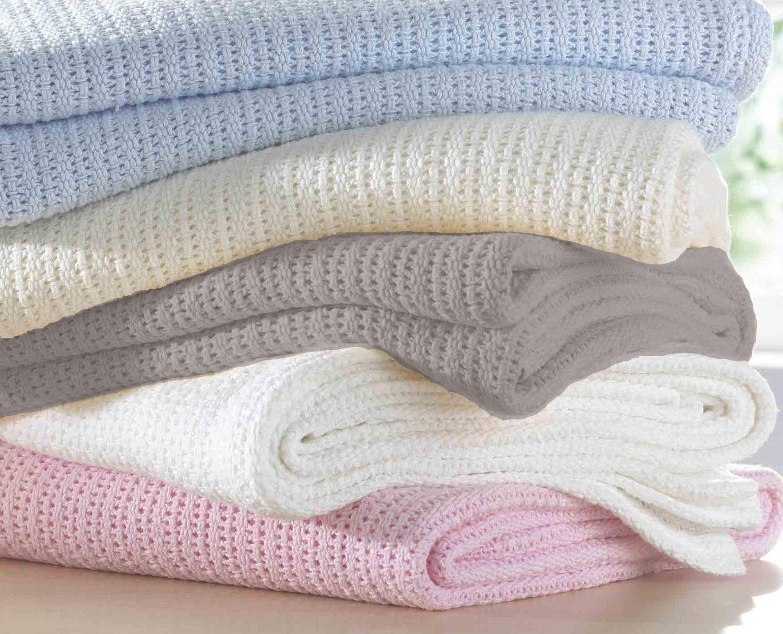 New Baby Soft Cellular Blanket 100/% Cotton Pram Cot Moses Basket Wrap Gift idea