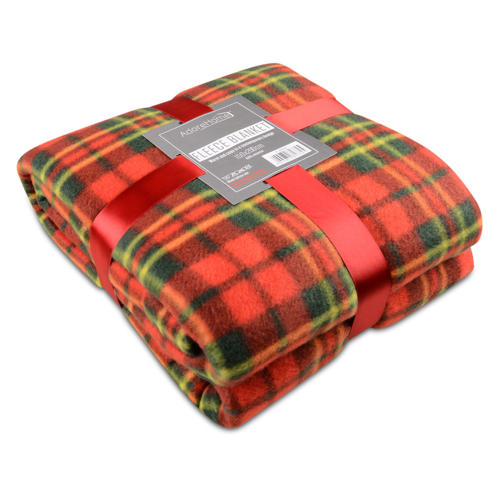 Soft Warm Red Check Blanket Single Double King Tartan Sofa Throw