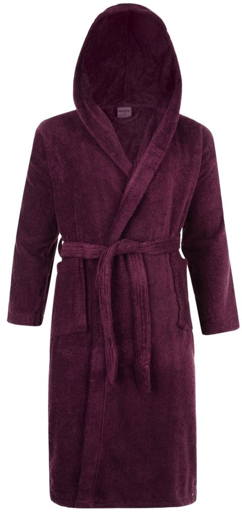 Hooded 100% Cotton Terry Towelling Shawl Collar Aubergine Bathrobe ...
