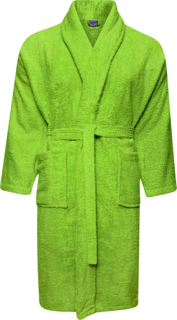 100% Cotton Terry Towelling Shawl Collar Lime Green Bathrobe ...