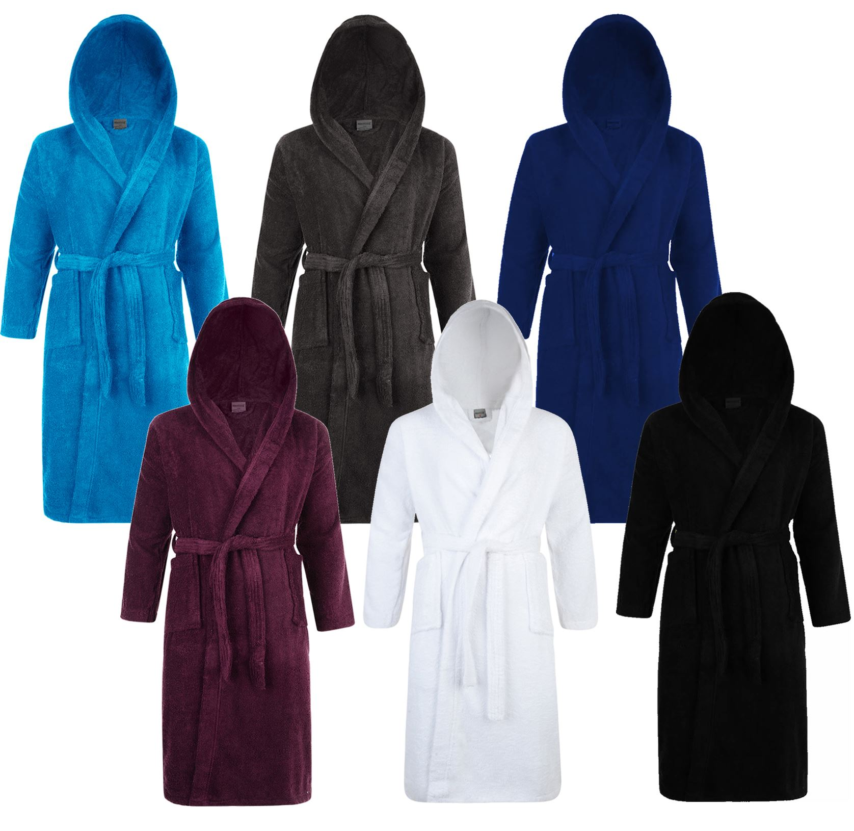 Mens & Ladies 100% Cotton Hooded Bathrobe Towelling Bath robe ...