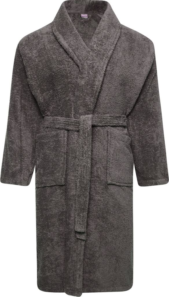 Mens & Ladies 100% Cotton Terry Toweling Shawl Grey Bathrobe ...