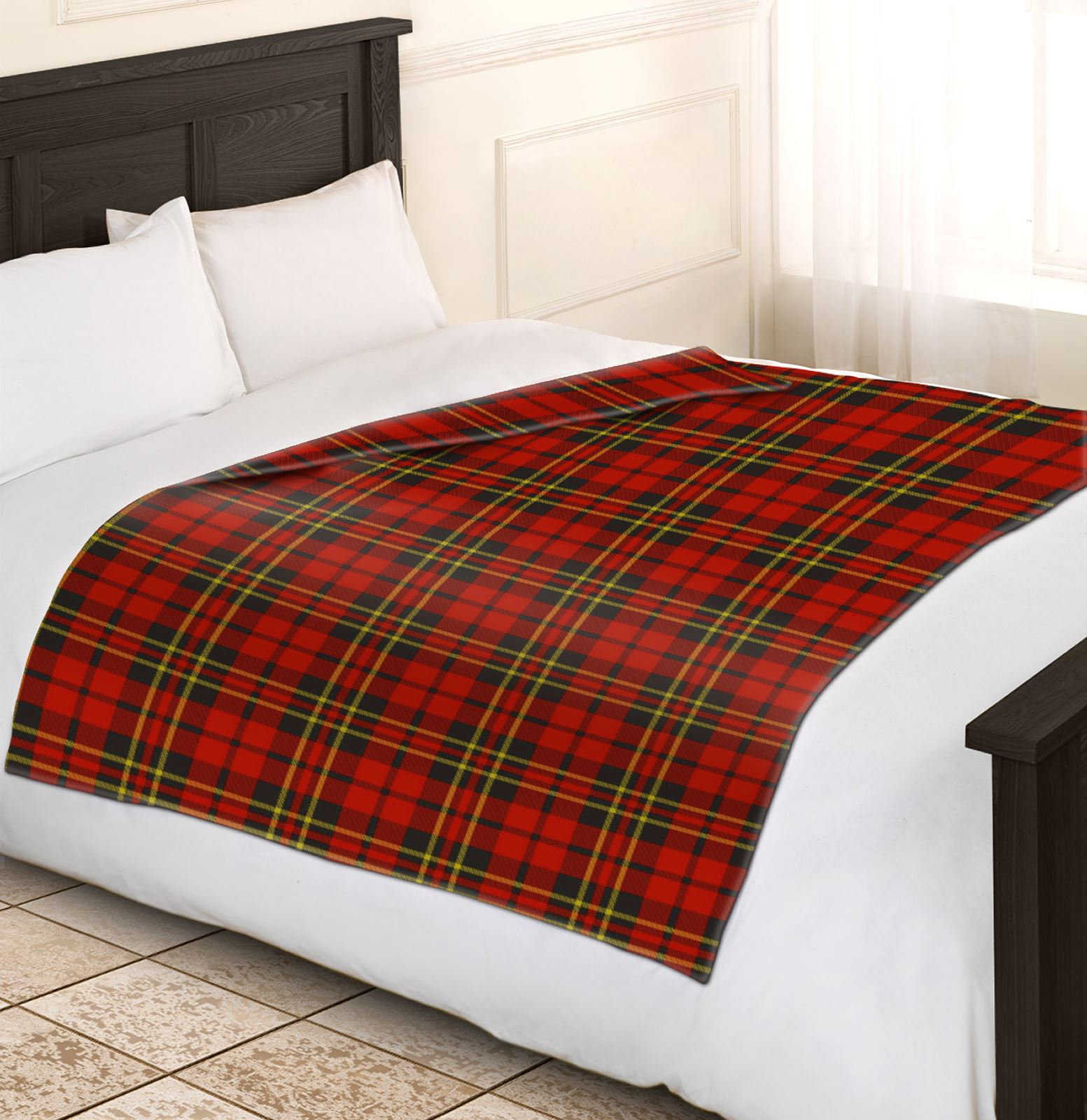 soft warm red check blanket single double king tartan sofa throw bed fleece ebay. Black Bedroom Furniture Sets. Home Design Ideas