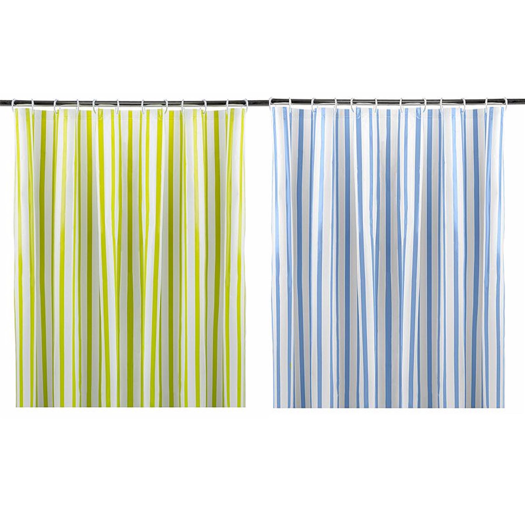 Lime Green Or Blue Retro Striped Shower Curtains 180x180cm Eyelet Ring Top