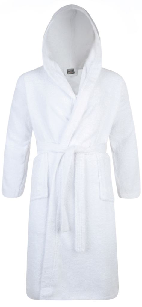 100% Cotton Terry Towelling Hooded Shawl Collar White Bath Robe ...
