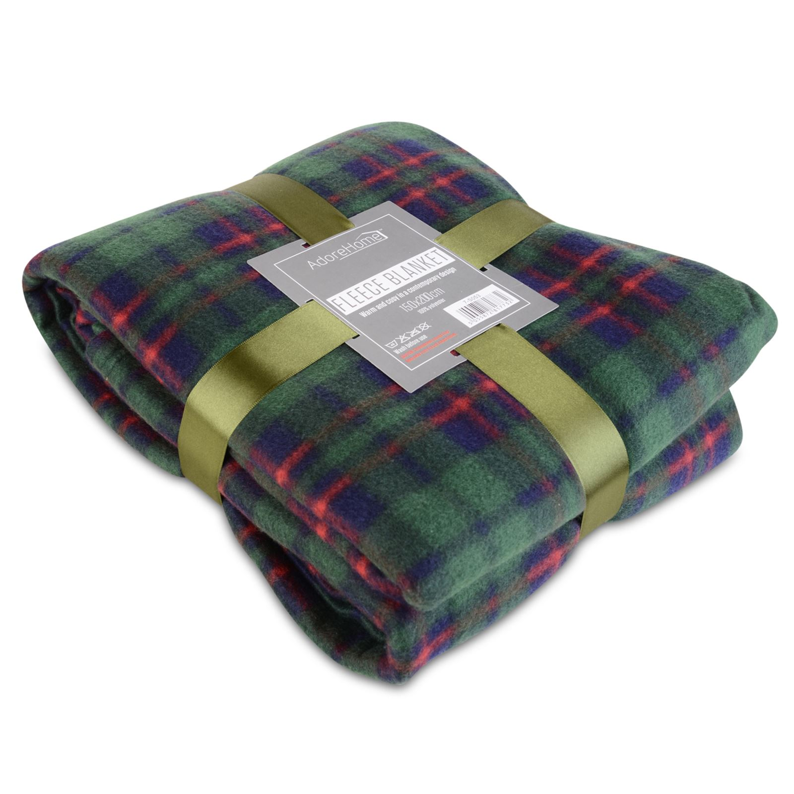 Soft Warm 150x200cm Double Tartan Check Sofa Throw Bed Fleece