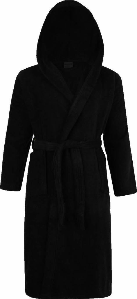 100% Cotton Terry Towelling Hooded Shawl Collar Black Bathrobe ...