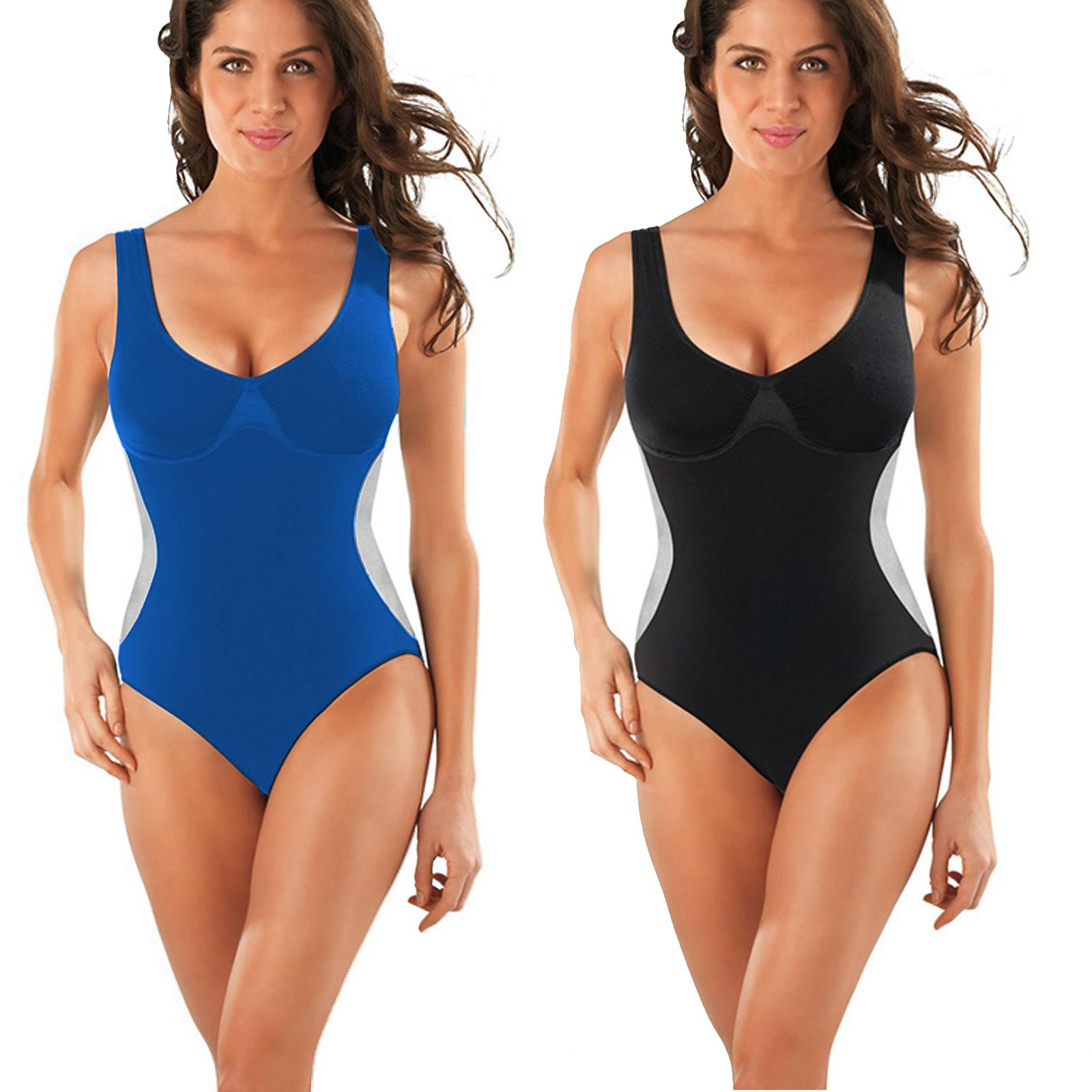 c55b9e85b5 Details about Firm Control Hold in Swimsuit Tummy Control Swimming Costume  Blue or Black