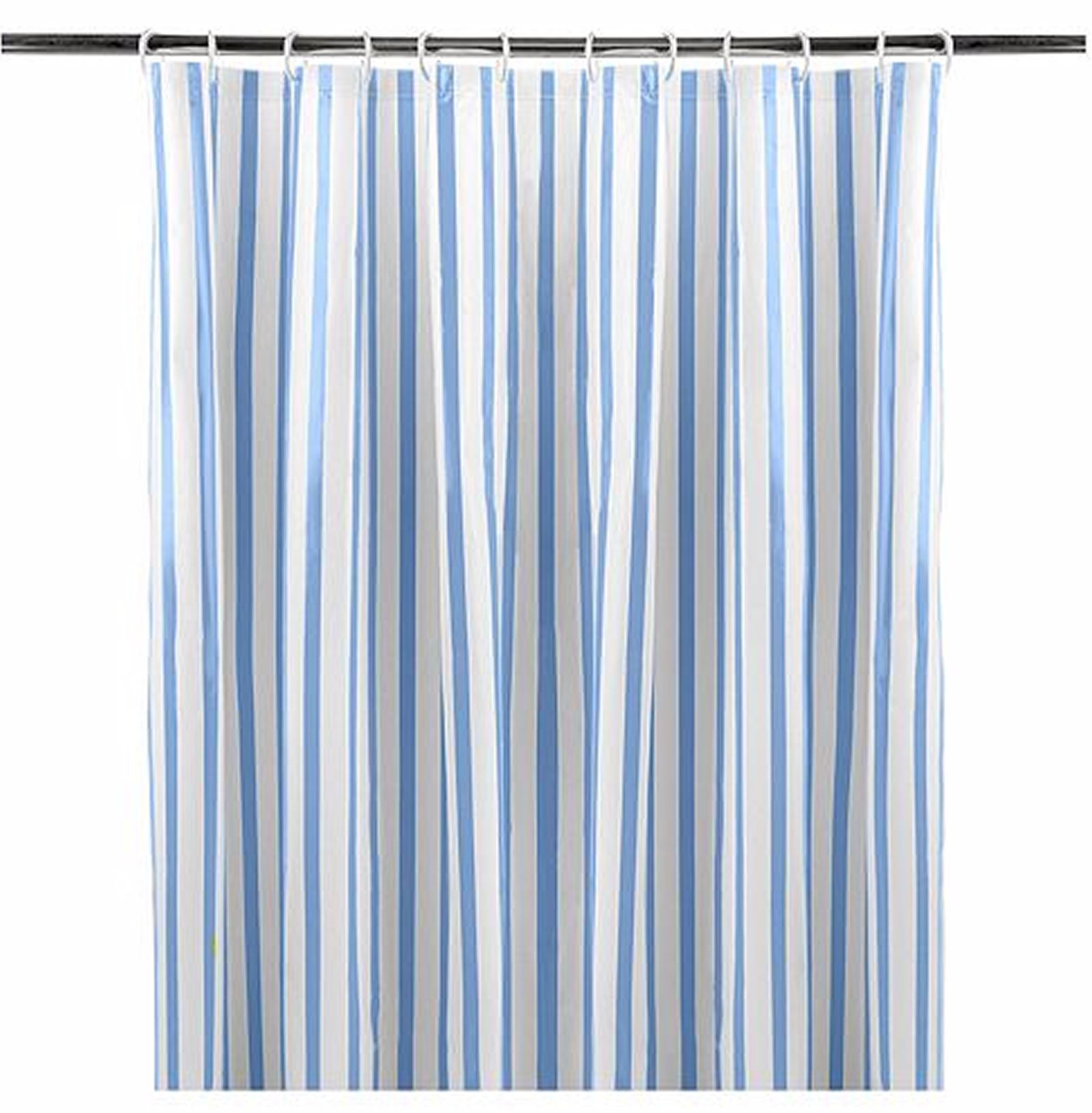 Blue and White Retro Striped Shower Curtain 180x180cm Eyelet Ring ...