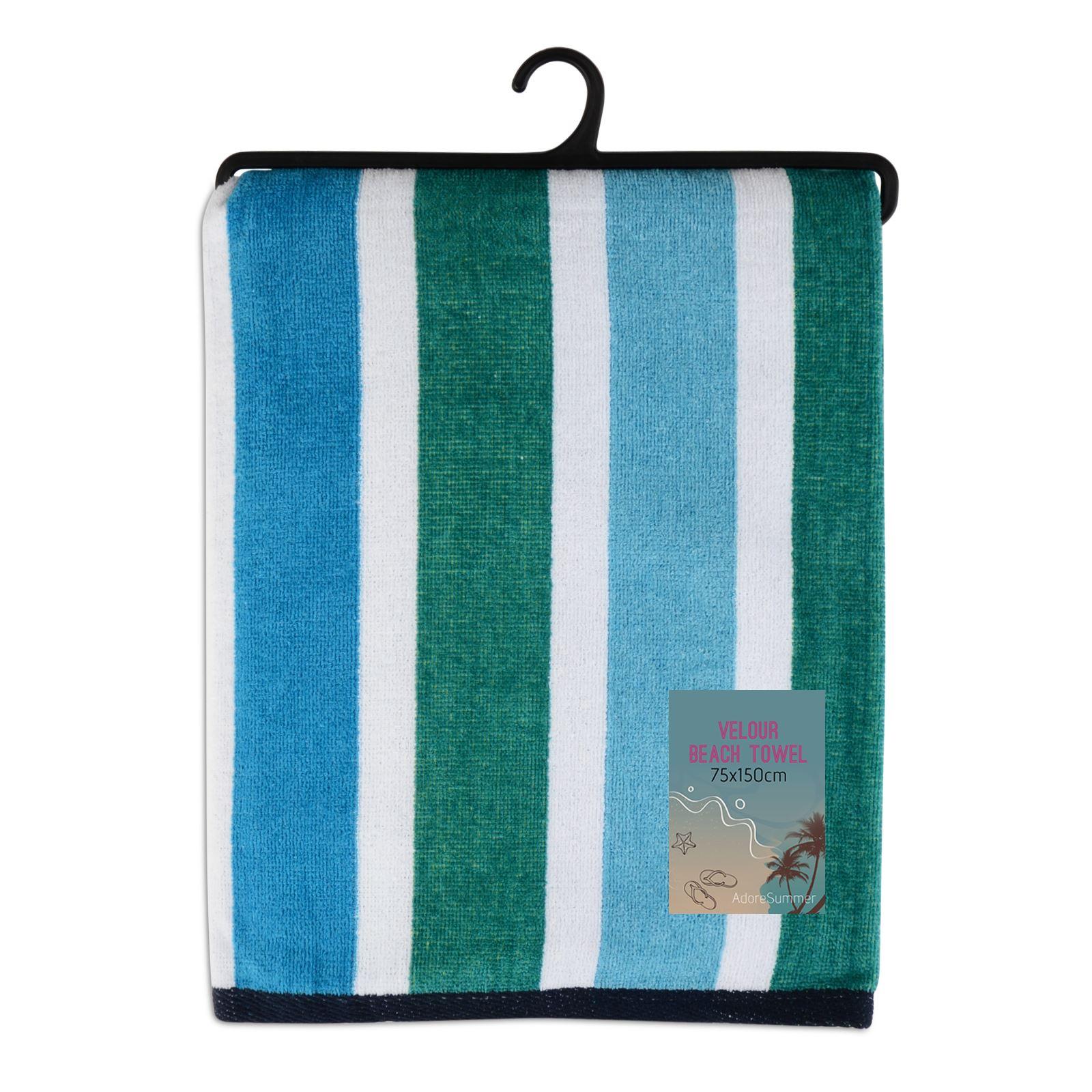 Bathroom Towels Striped: Large Velour Beach Bath Towels Cotton Striped Towels