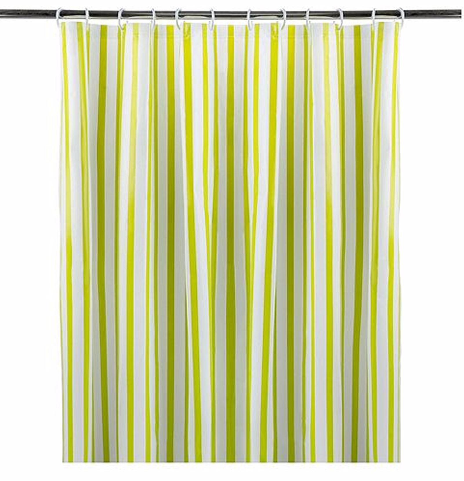 Details About Striped Shower Curtain With Eyelet Ring Top Lime Green 180x180cm