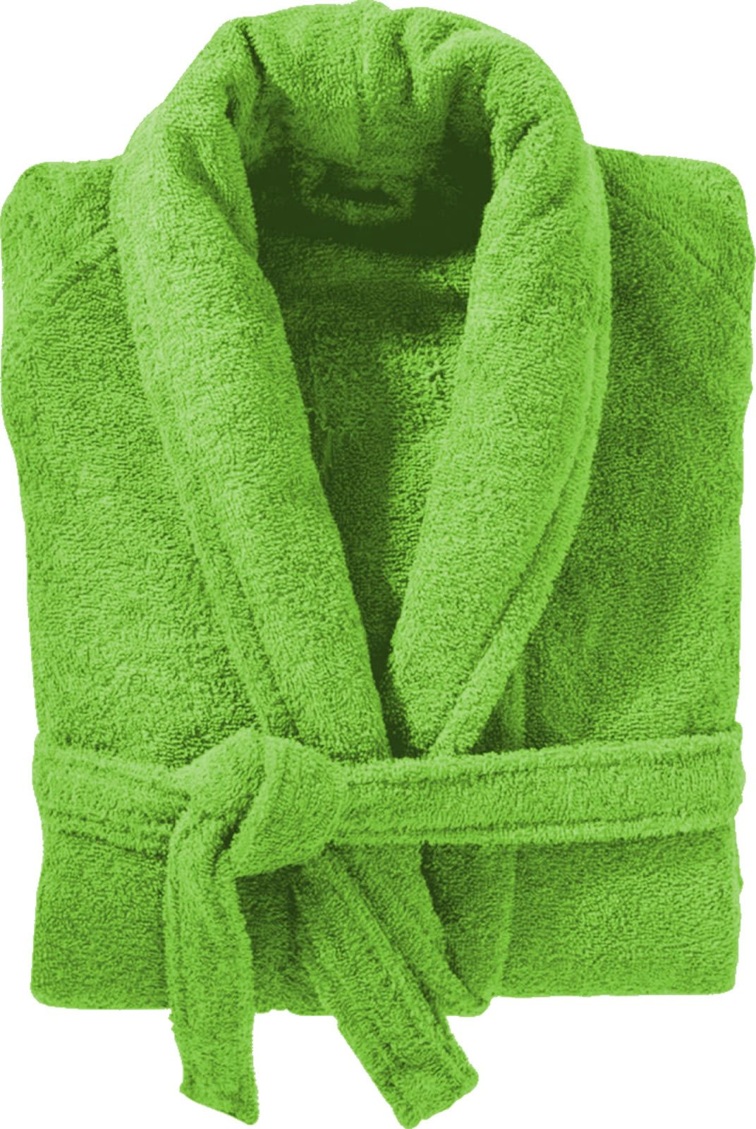 100% Cotton Terry Towelling Shawl Collar Lime Green Bathrobe ...