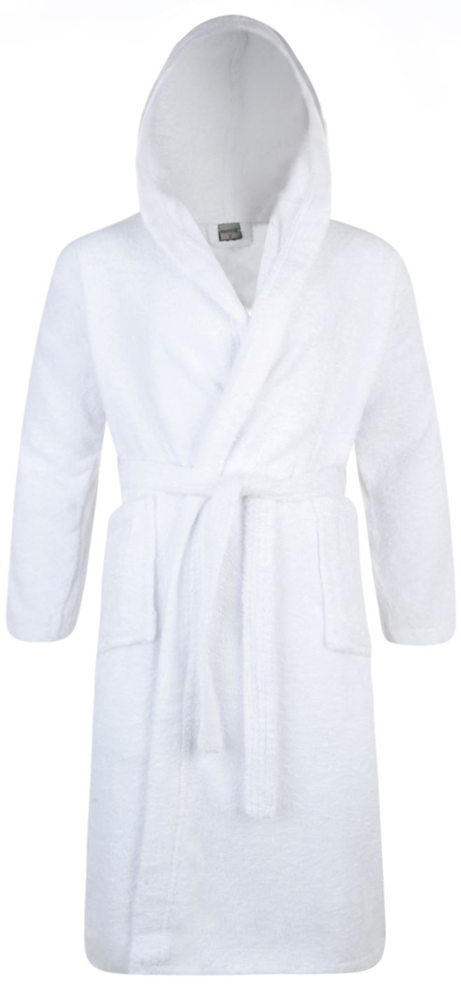 e2f7f19844 Details about 100% Cotton Terry Towelling Hooded Shawl Collar White Bath Robe  Dressing Gown