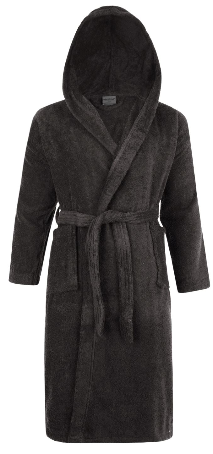 100% Cotton Terry Towelling Hooded Shawl Collar Slate Bath Robe ...