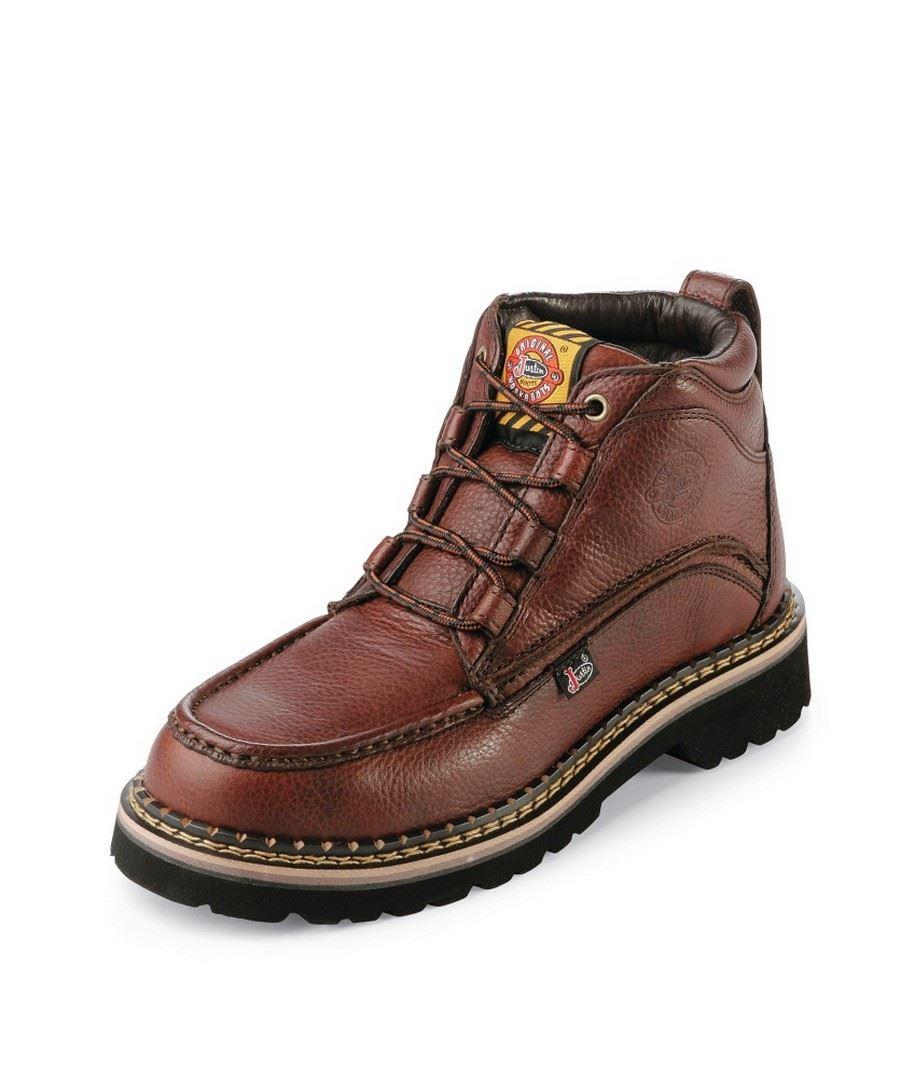 Light Work Mens Boots: Justin Original WK900 Mens Premium Light Duty Steel Toe