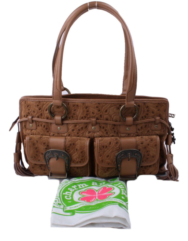 charm and luck womens suede medium satchel handbag ebay