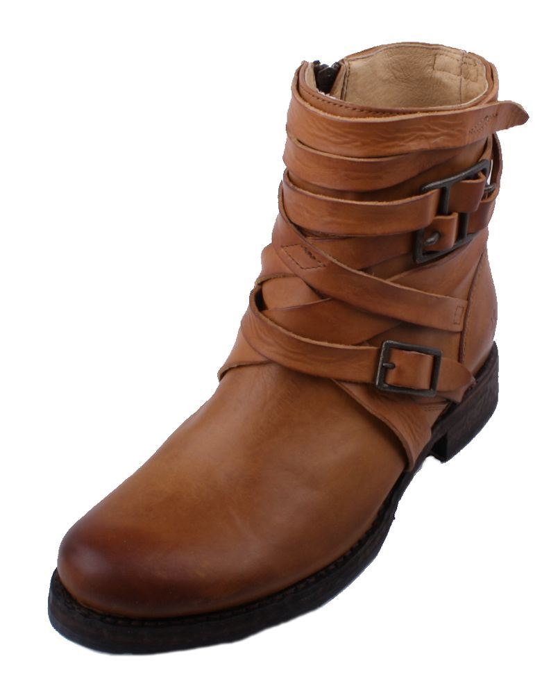 frye strappy womens brown leather ankle fashion boots
