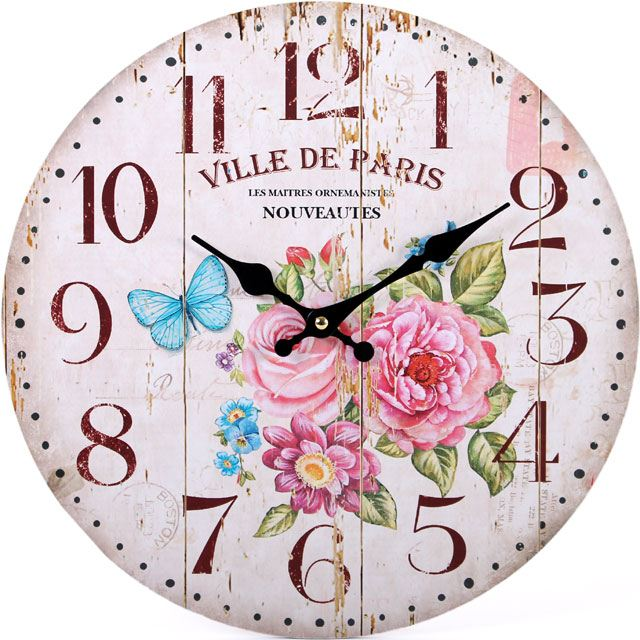 Large Vintage Rustic Wall Clocks Shabby Kitchen Chic Home French ...