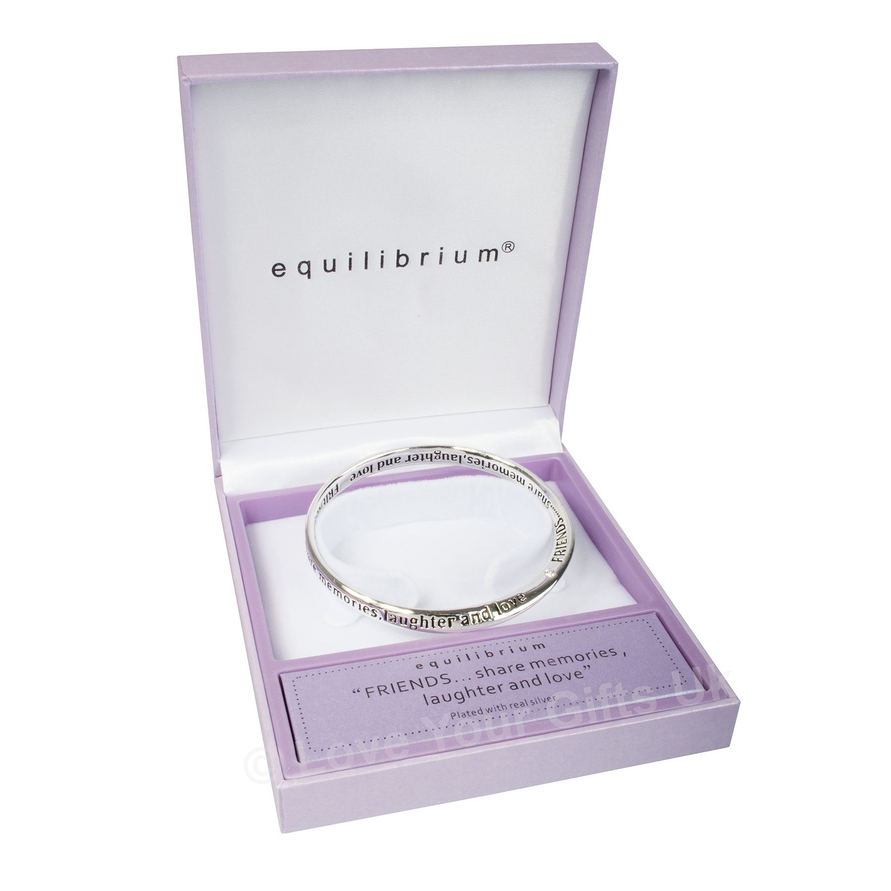 'Friends Share Memories, Laughter and Love' - Silver Plated Bangle