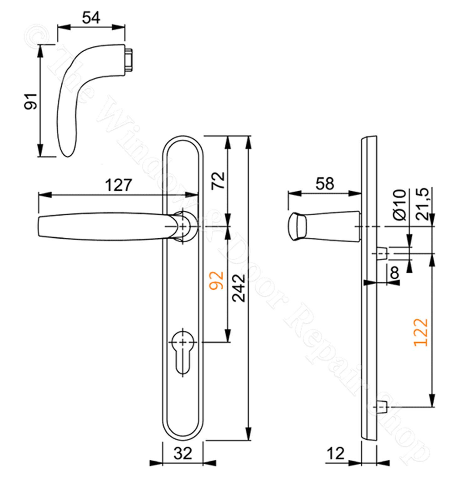 Upvc Door Handle Hoppe Atlanta 92mm 92pz 122mm Fixings
