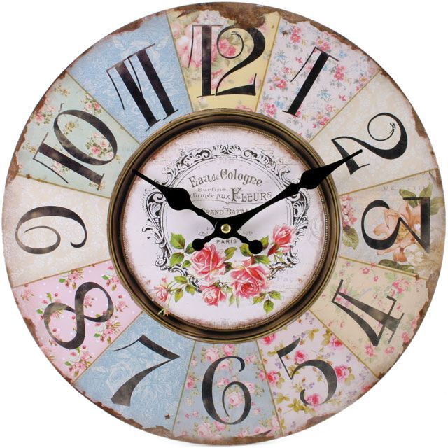Large Vintage Rustic Wall Clocks Shabby Kitchen Chic Home ...