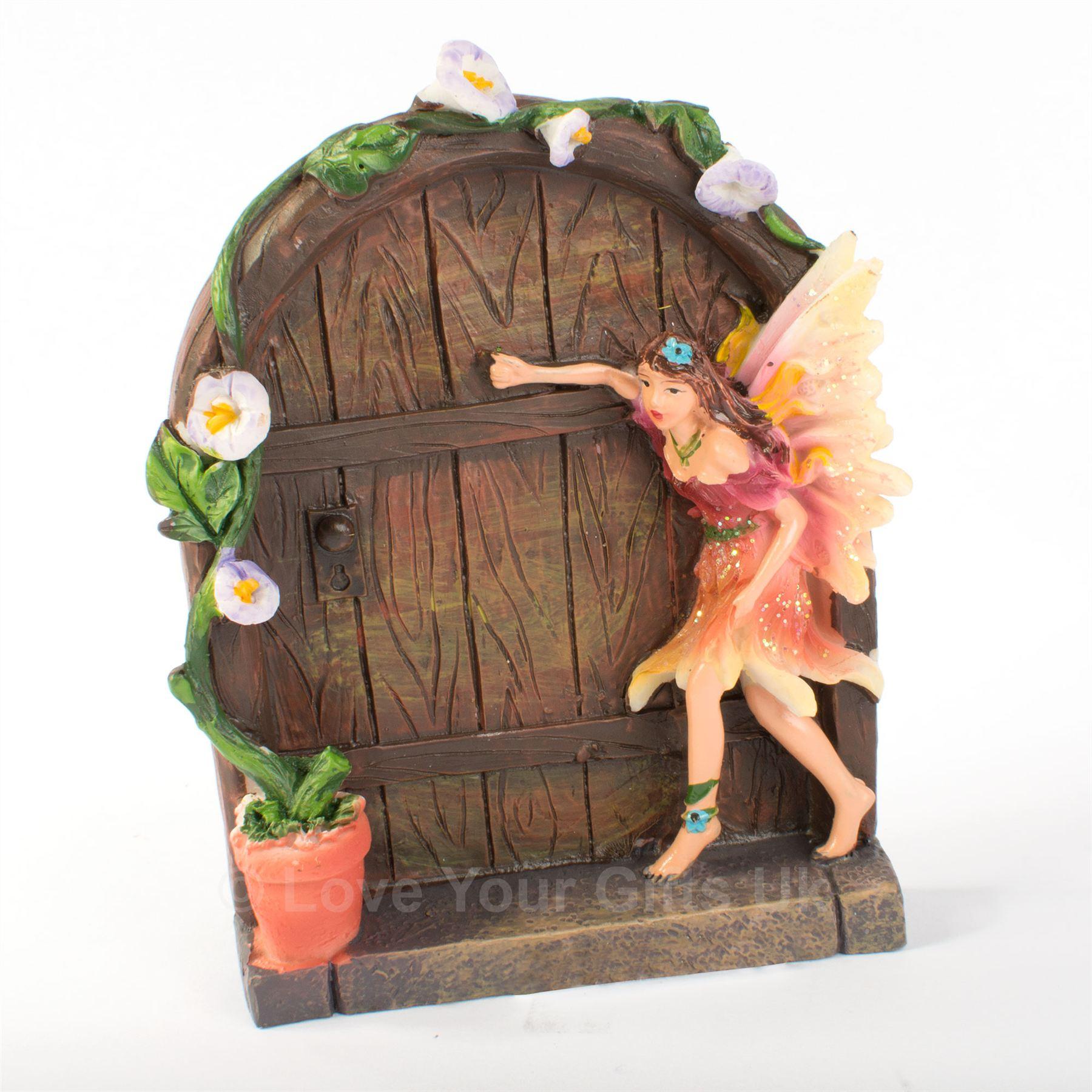 Pair of 2 flower sparkle fairies fairy secret doors blue for Amazon uk fairy doors