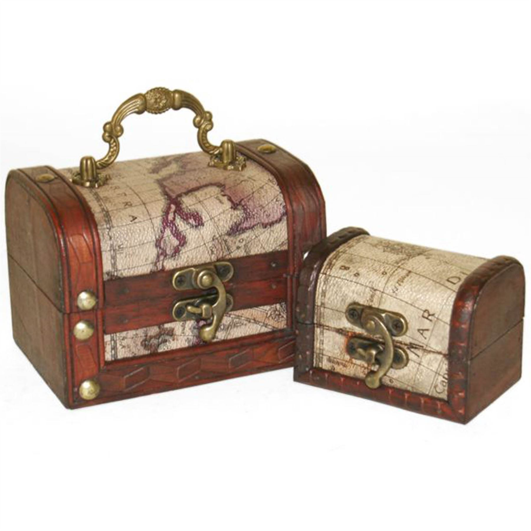 2-x-Wood-Chests-Diamond-or-Map-Chest-Wooden-Trinket-Box-Treasure-Secret-Stash