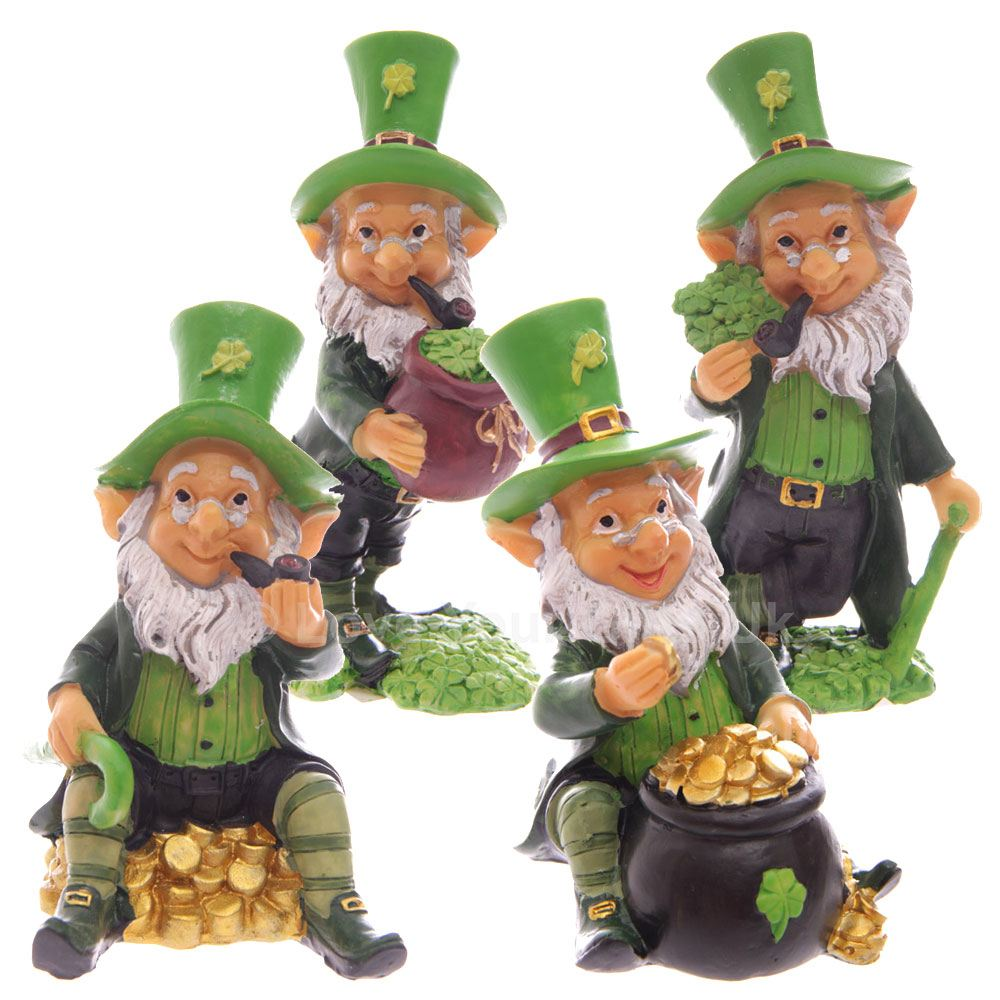four pack lucky leprechaun figures 9 11cm irish folklore st