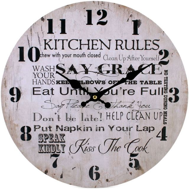 Large Vintage Rustic Wall Clocks Shabby Kitchen Chic