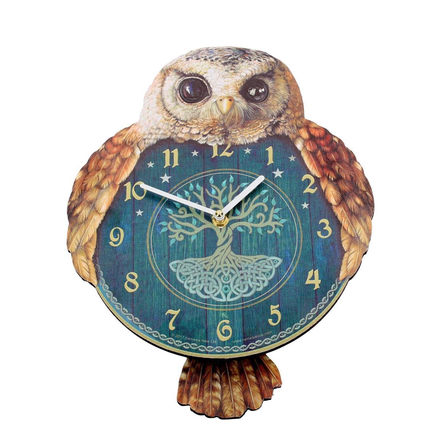 Tickin-039-Animal-Shaped-Picture-Wall-Clock-Swinging-Tail-Pendulum-Battery-Operated