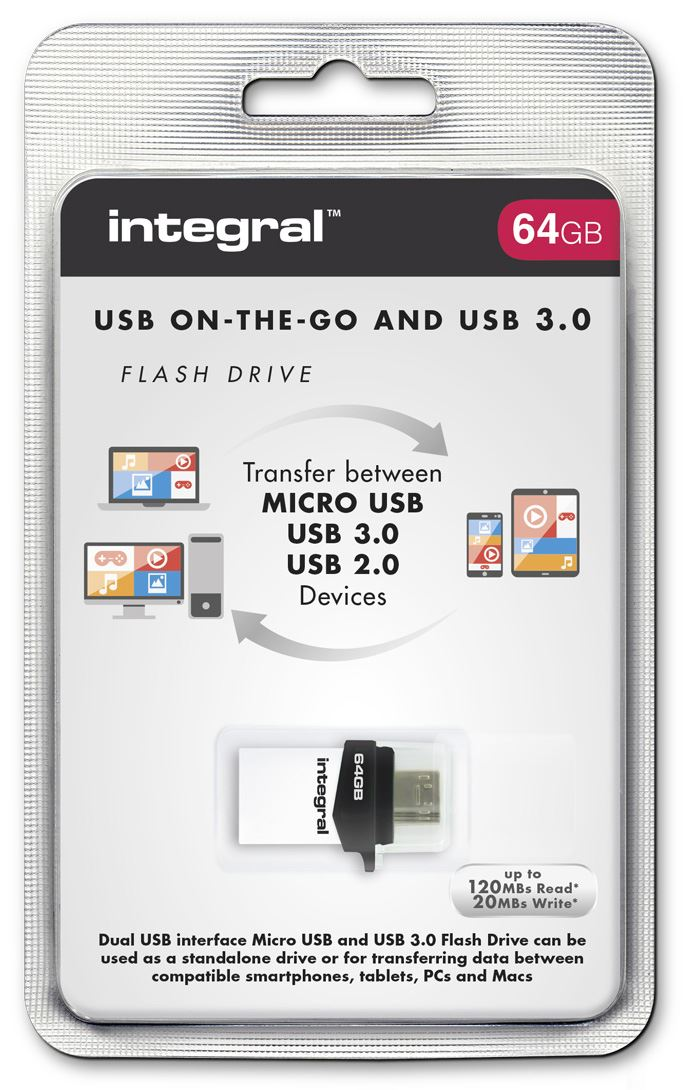 Details about Integral 64GB OTG USB 3 0 Flash Drive for Android Tablets and  Phones and PC/Mac