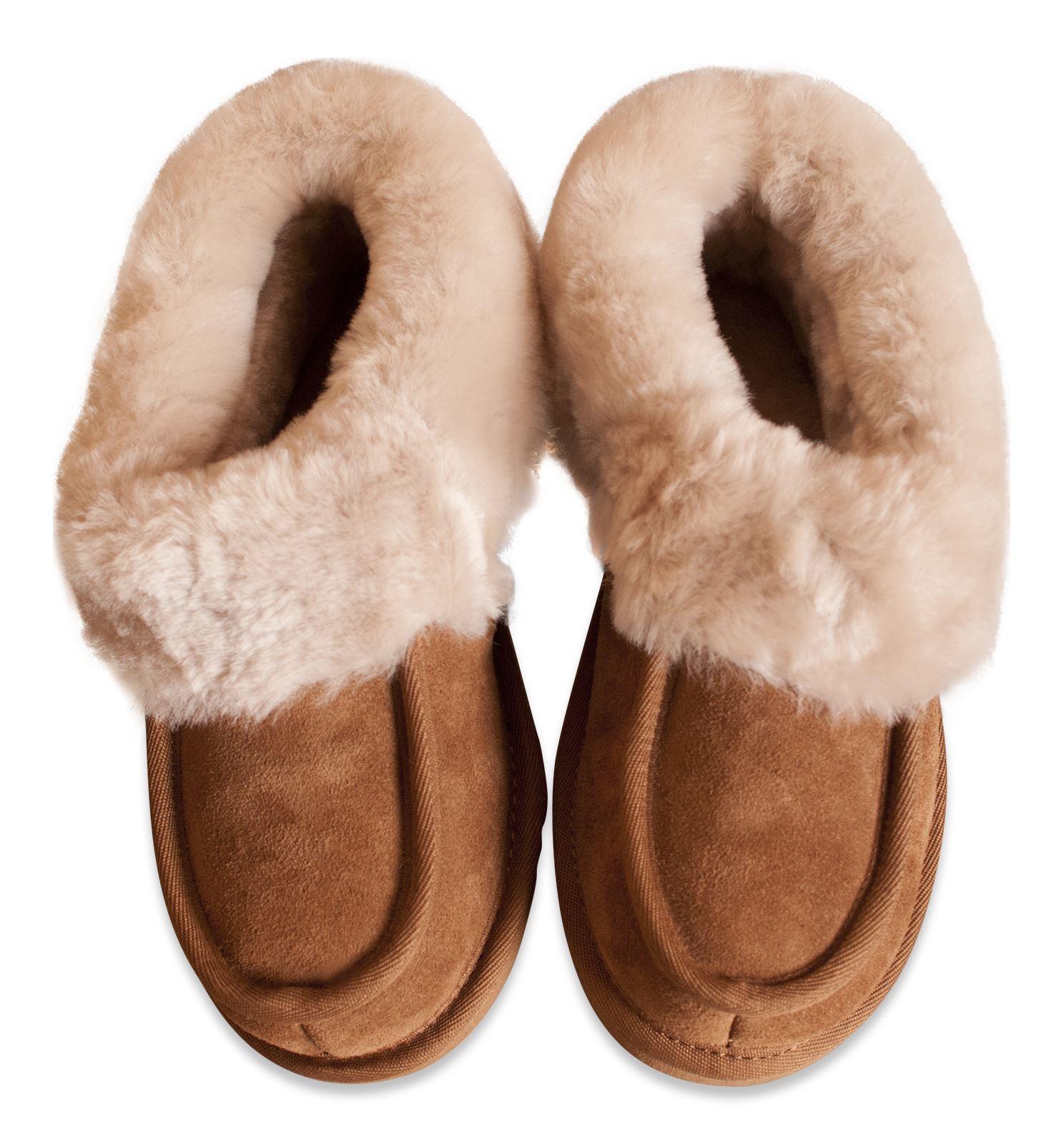 Nordvek Womens Genuine Sheepskin Slippers Boots Hard Rubber Sole