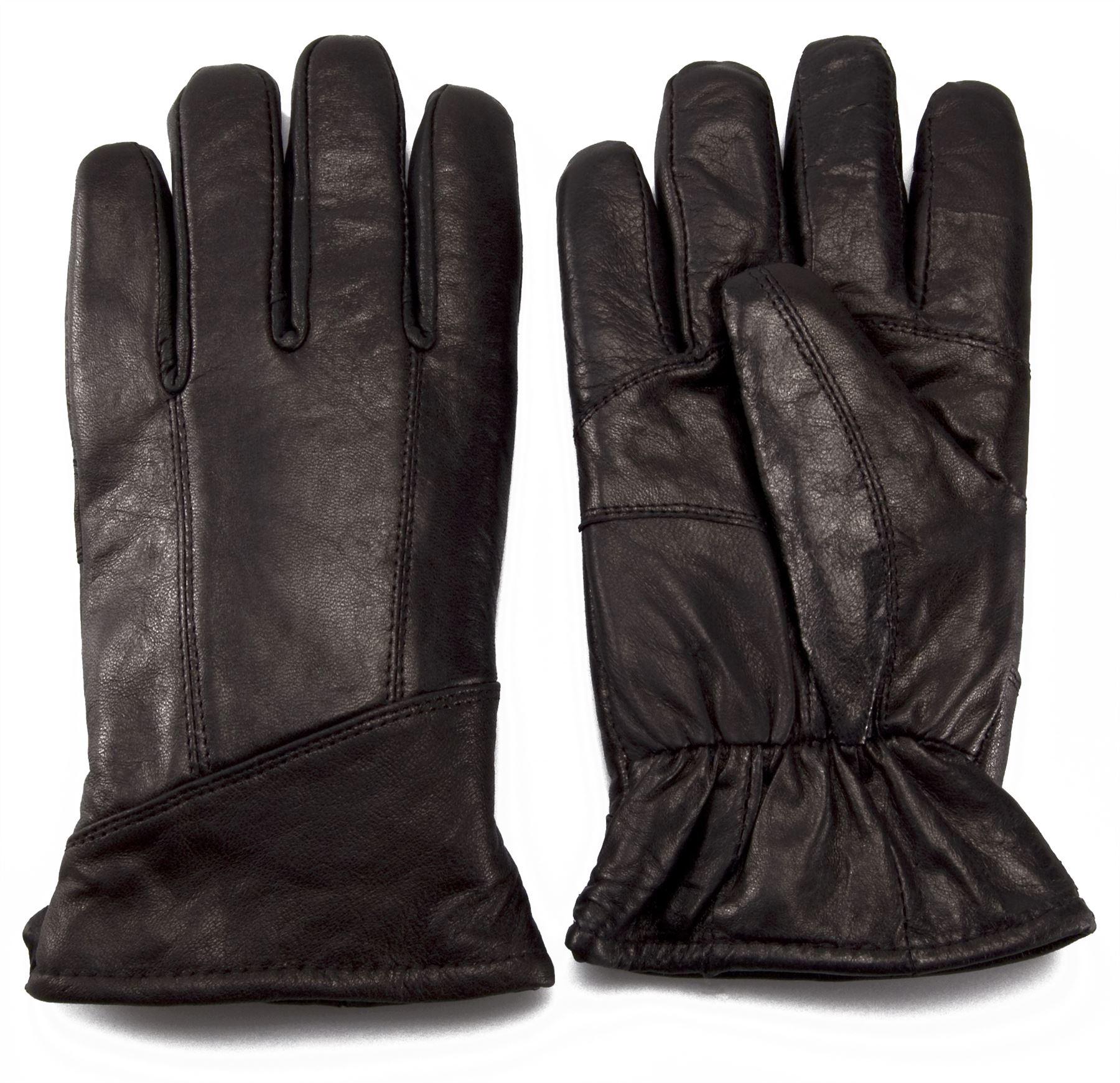 Black leather cut off gloves - Nordvek Mens Sheepskin Lined Black Real Leather Gloves
