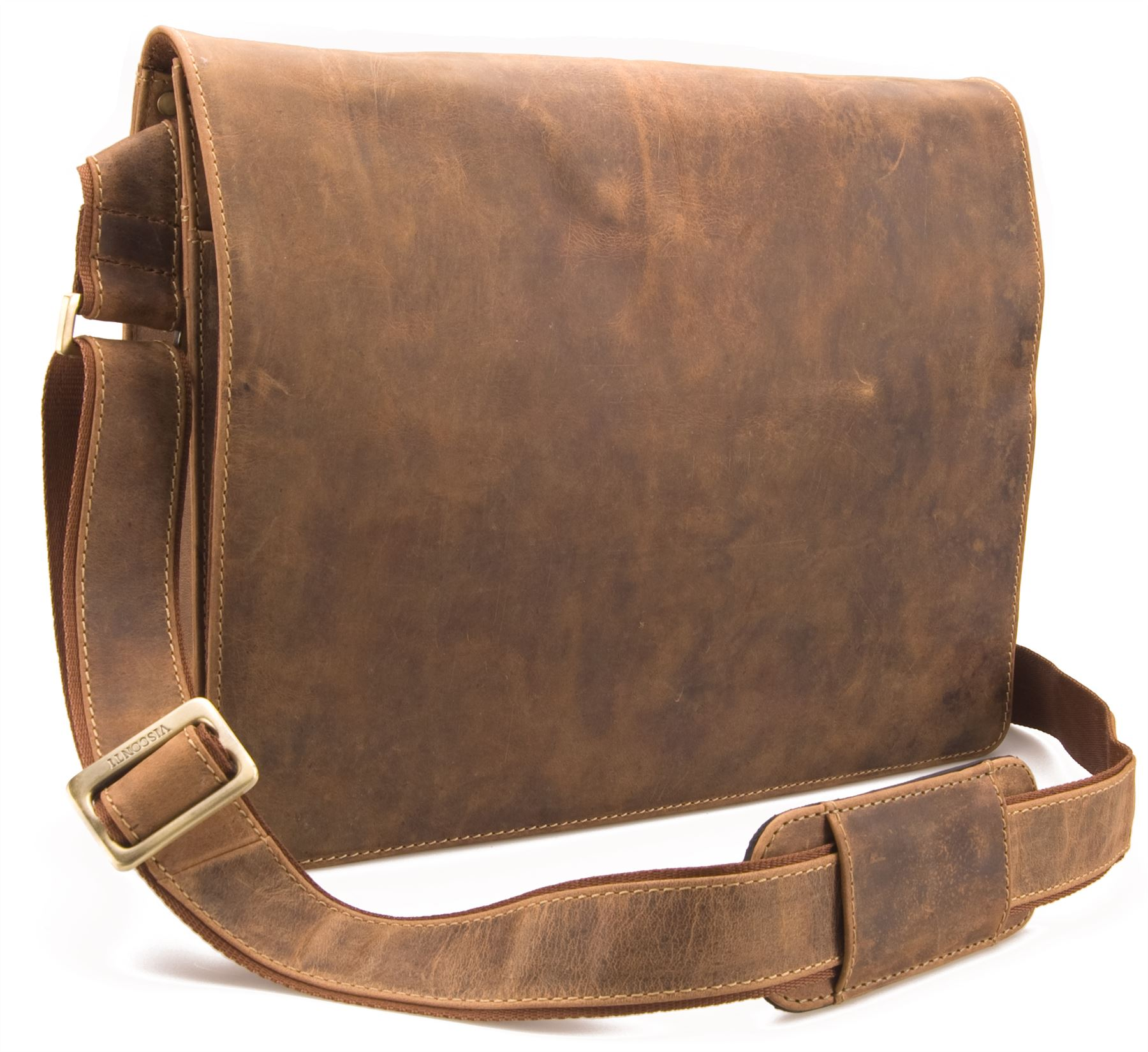 Floor Price Visconti Hunter Distressed Oiled Leather A Work Messenger Bag # 858 - Oiled Tanu