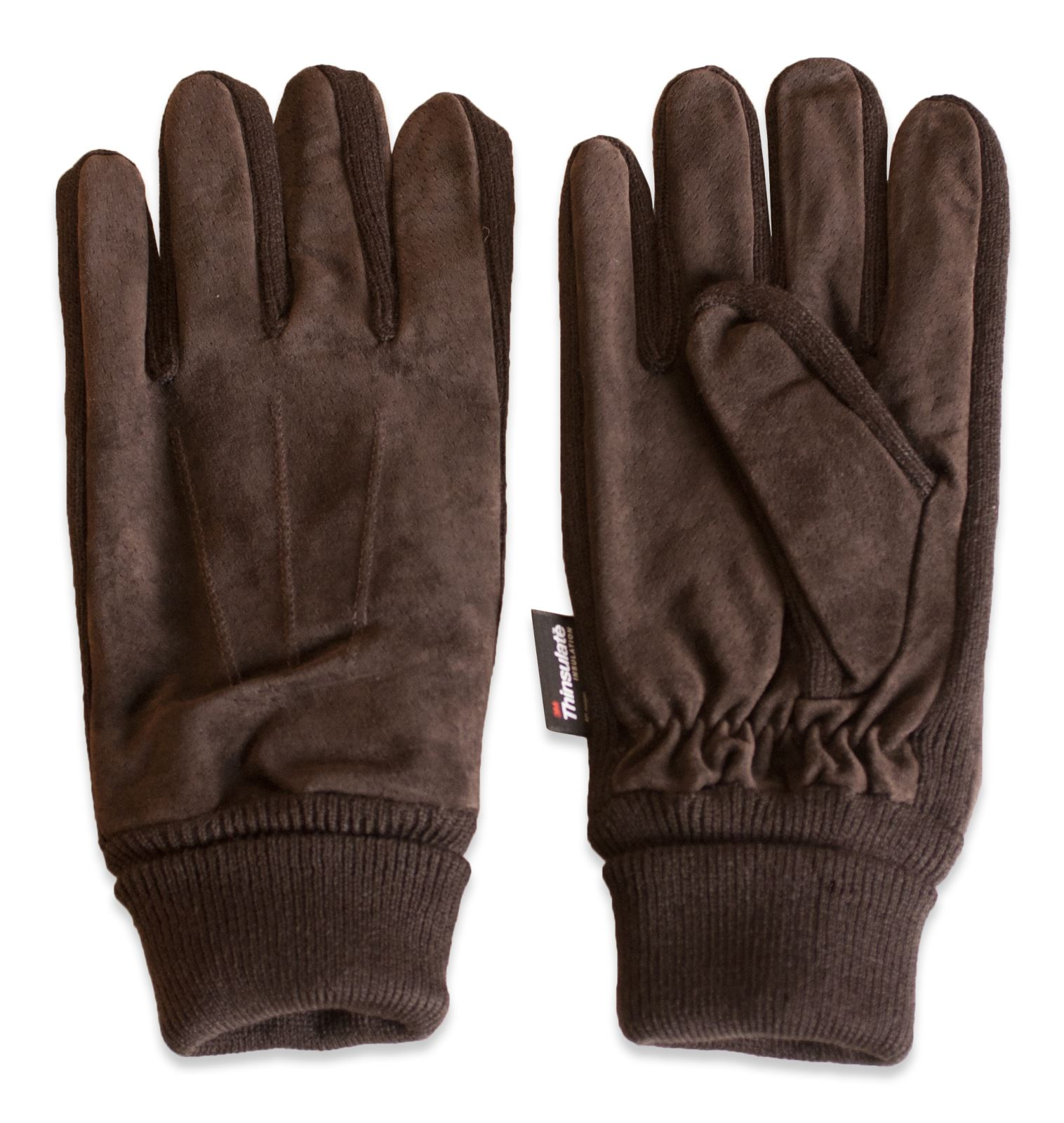 Mens leather gloves with cuff - Quivano Mens Suede Leather Gloves Thinsulate Lined Elasticated