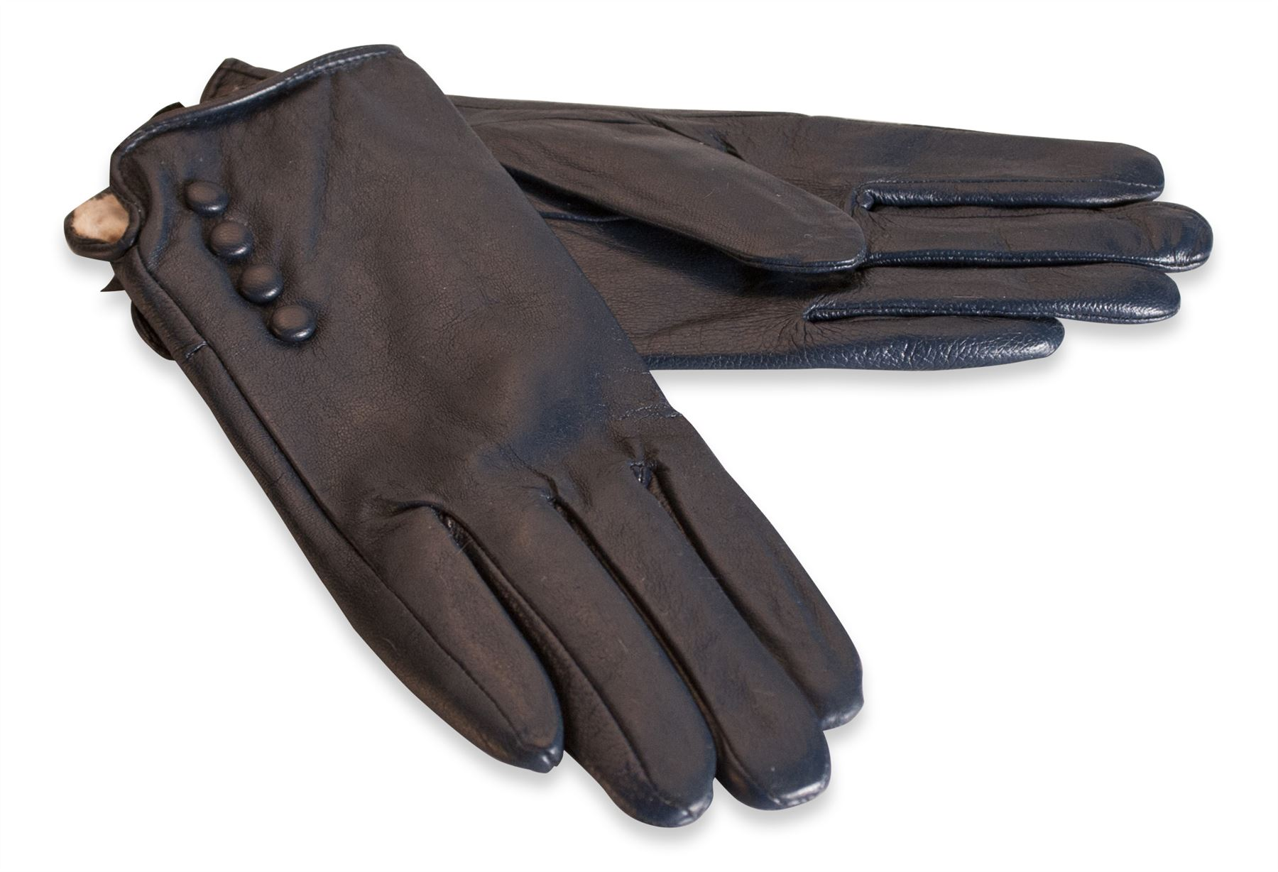 Black leather gloves buttons - Quivano Womens Soft Real Leather Gloves Four Button