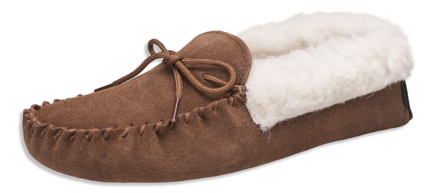 da donna ORIGINALE MOCASSINO SCAMOSCIATO Pantofole pelle di pecora suola morbida