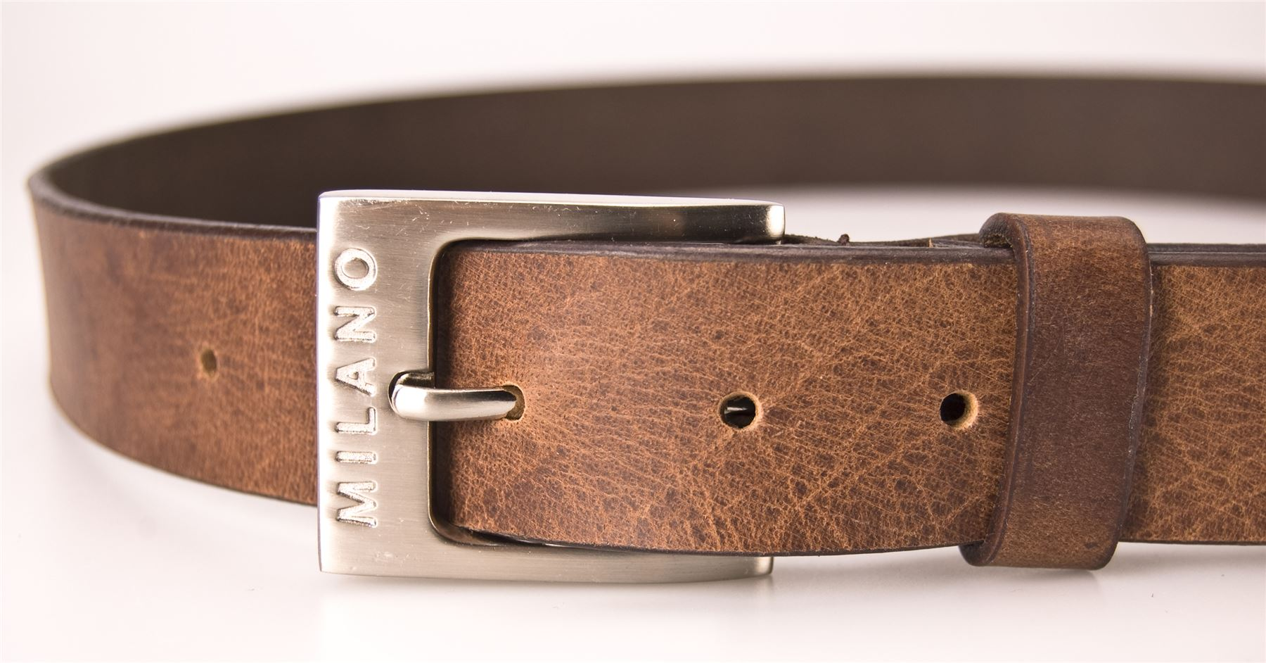Milano Mens Full Leather Black Amp Brown Belt Square Silver