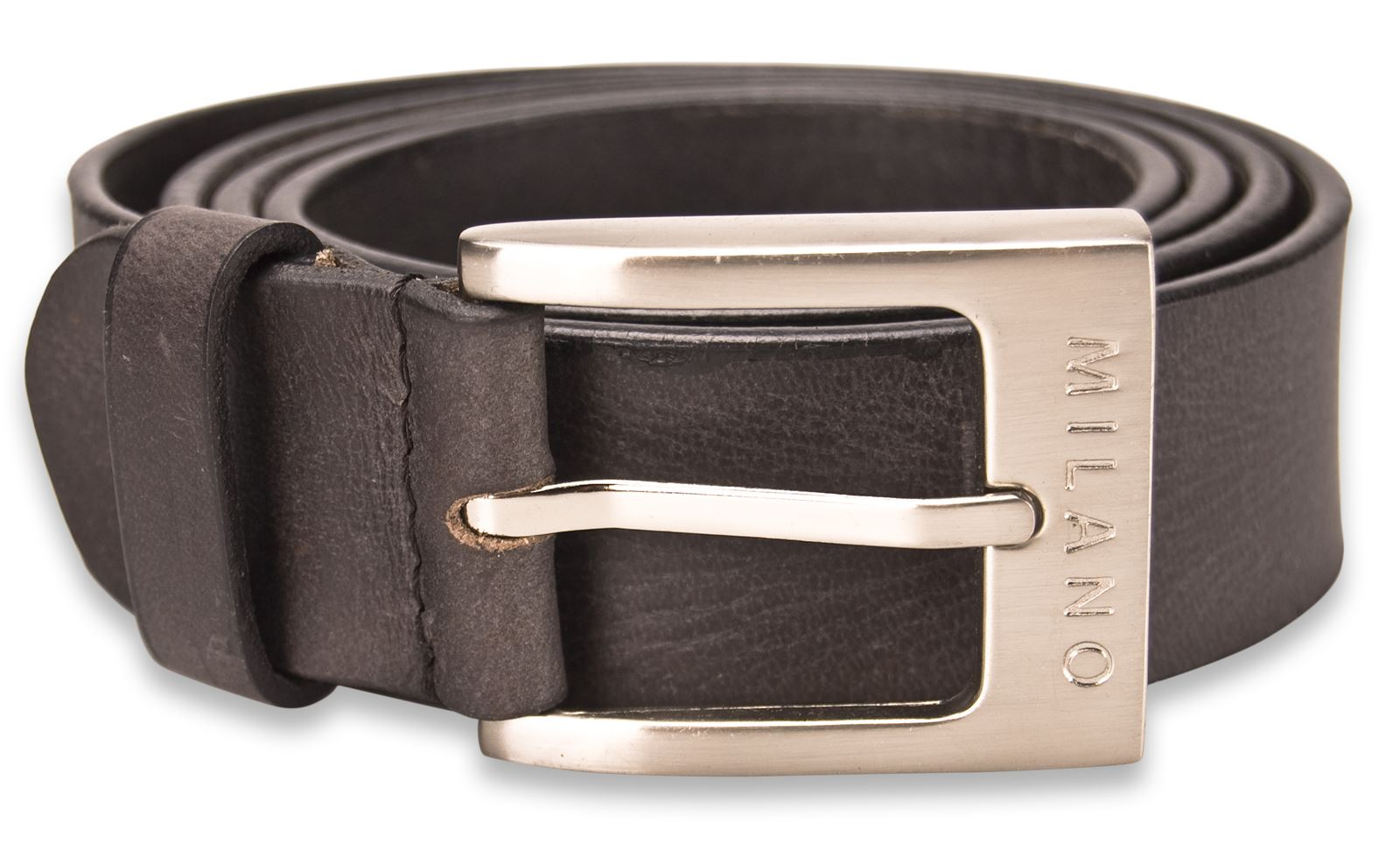 Milano-Mens-Full-Leather-Black-amp-Brown-Belt-Square-Silver-Buckle-Real-Genuine