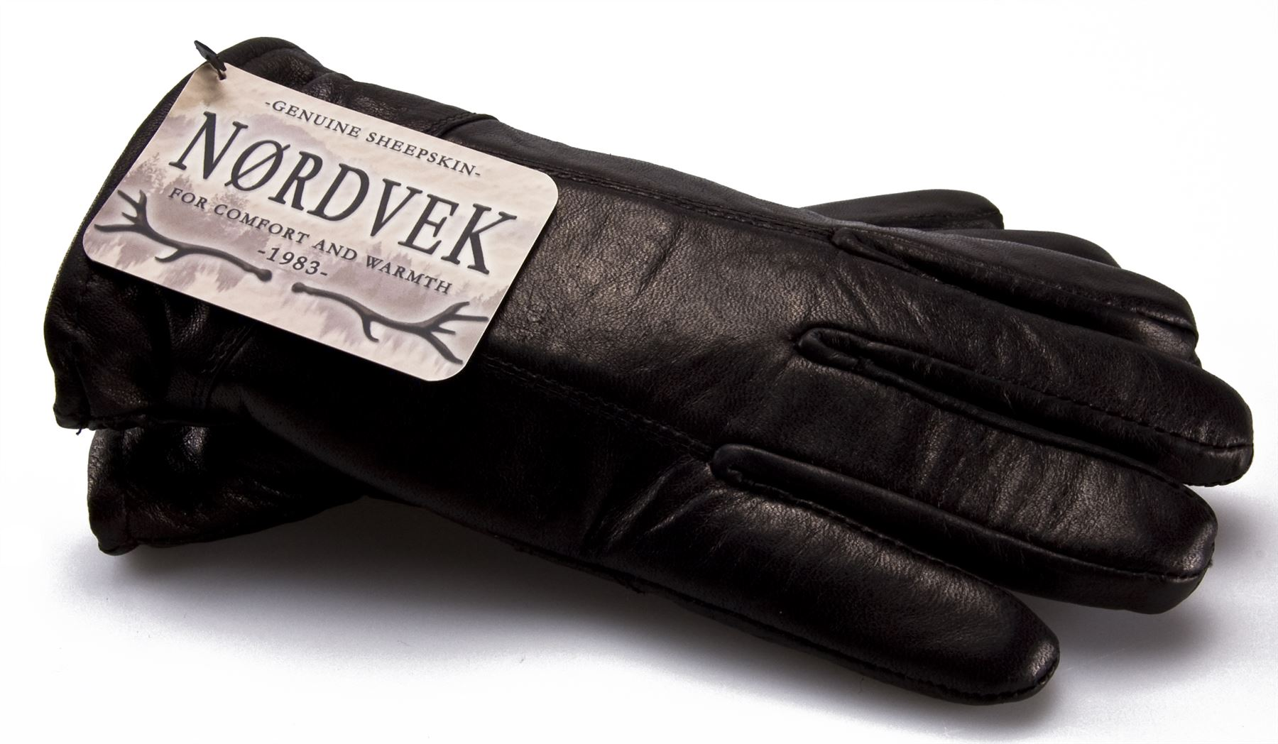 Leather mens gloves uk - Nordvek Mens Sheepskin Lined Black Real Leather Gloves