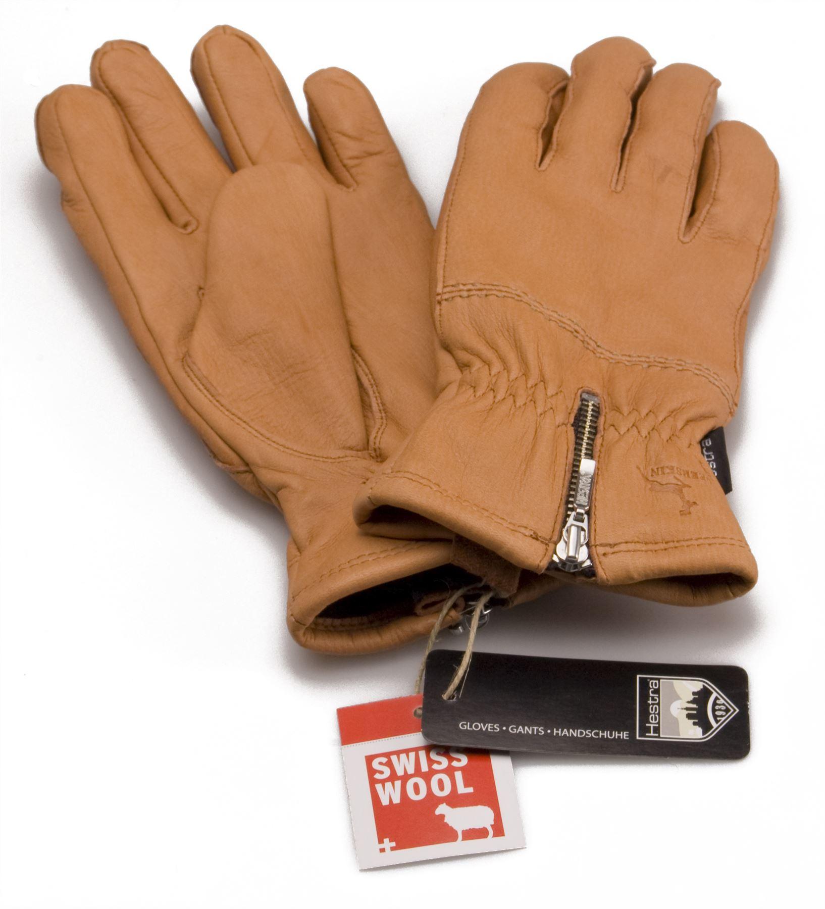 Womens beige leather gloves - Hestra Ladies Real Deerskin Leather Gloves Merino Wool