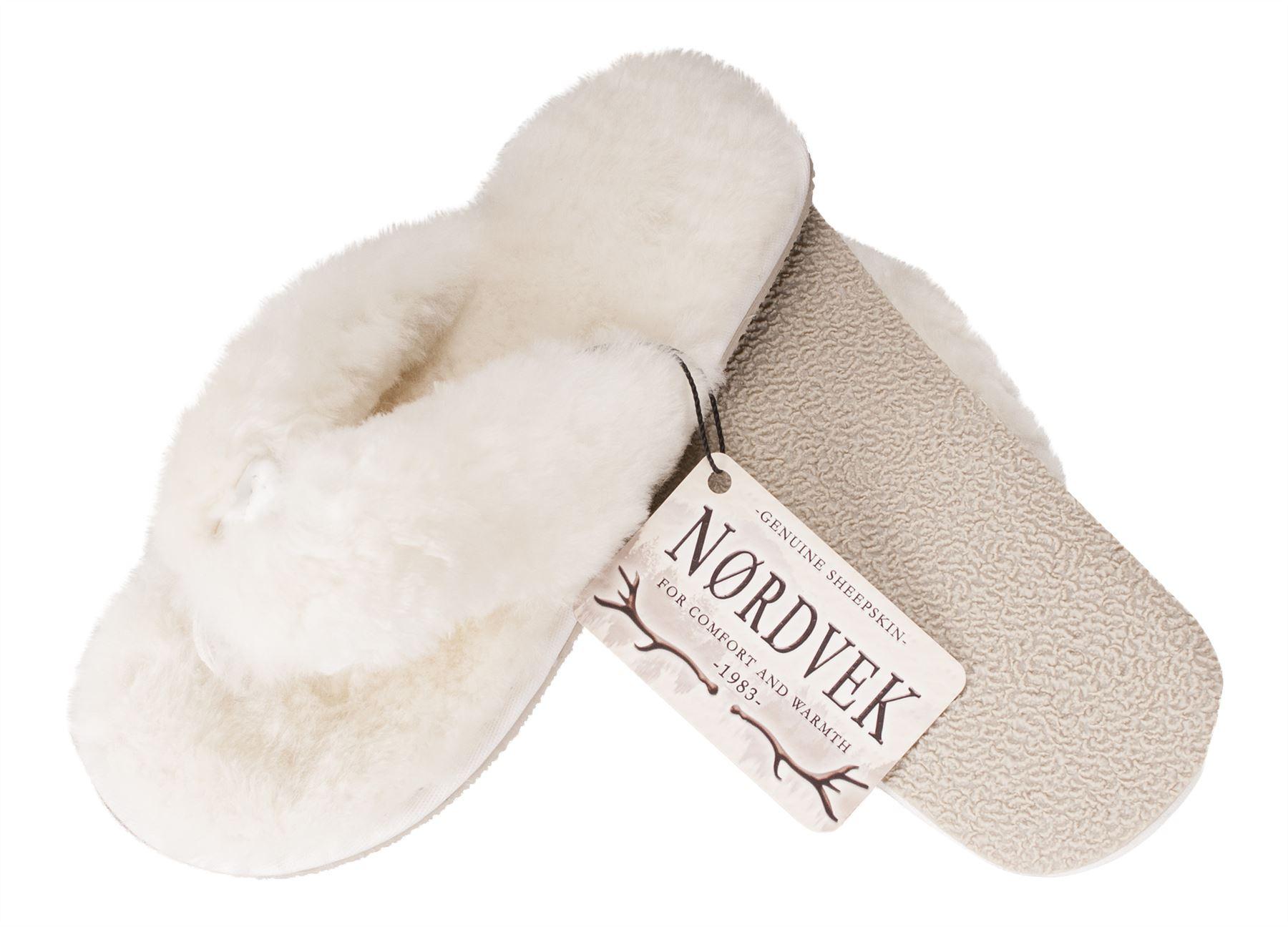 Nordvek Ladies Genuine Sheepskin Flip Flop Slippers Thongs