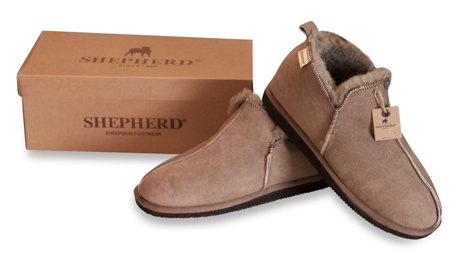 Shepherd hommes Chaussons Chaussure 100% vrai peau mouton semelle ... a47bf8740620
