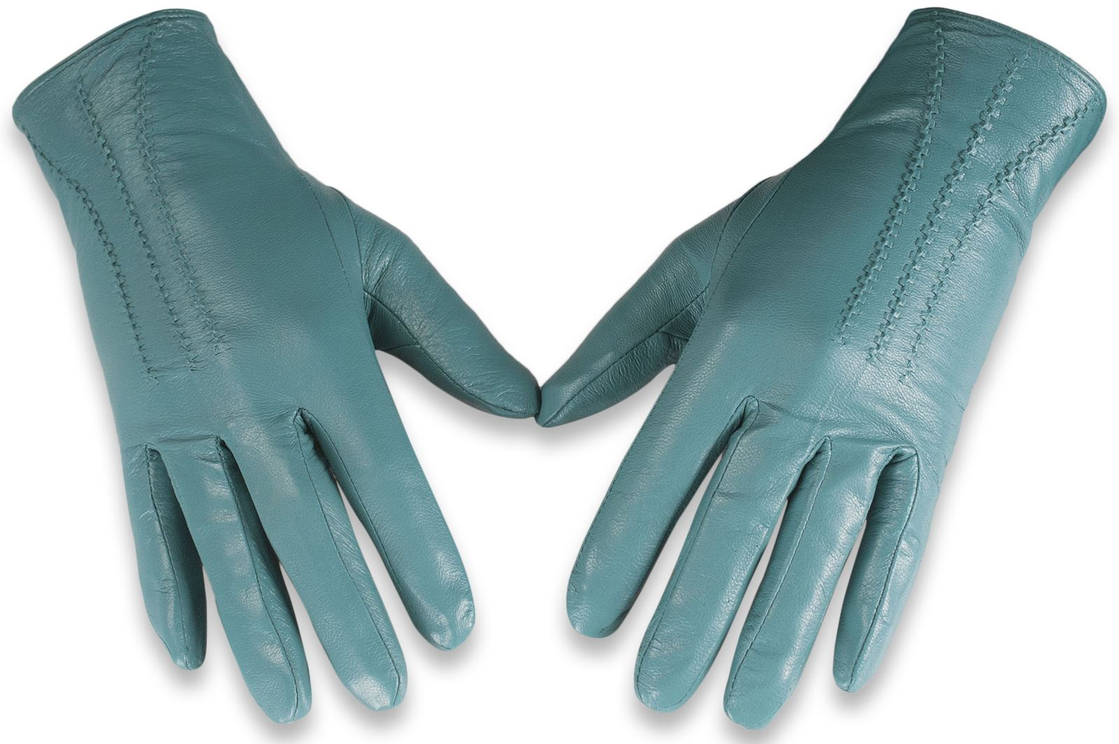 Womens leather gloves teal - Quivano Womens Soft Real Leather Gloves Three Line