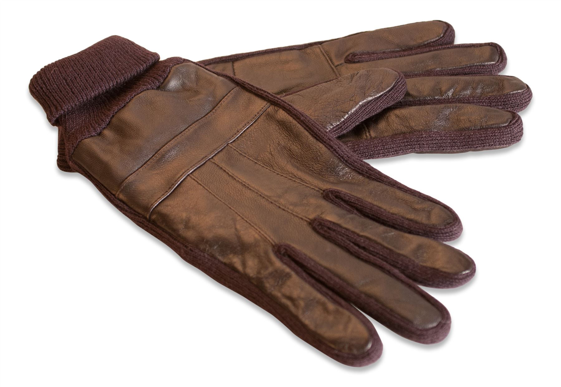 Mens leather gloves with cuff - Quivano Mens Real Leather Gloves Knitted Elasticated Cuff