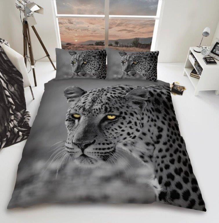 3D Animal Panthère Noire PREMIUM Housse Couette Ensemble De Literie Simple Double King