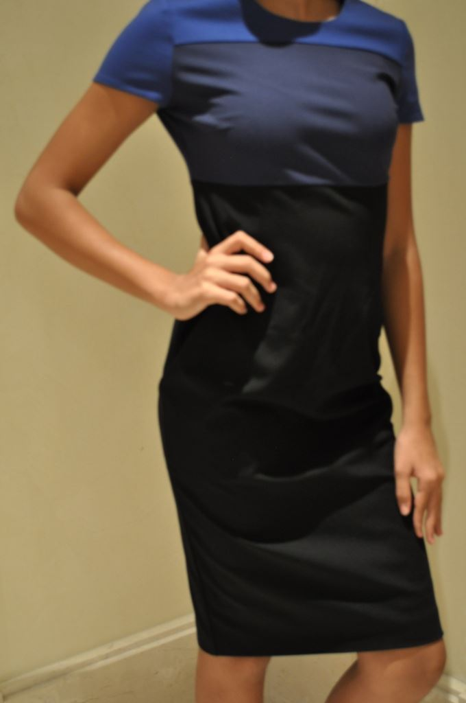 Elegance-Jersey-dress-Black-amp-Navy-Size-8-UK