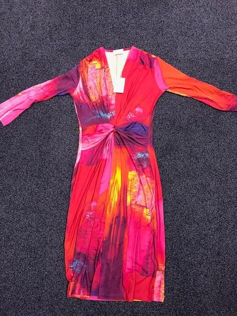 Elegance-Jersey-Dress-Red-Pink-Size-8-UK