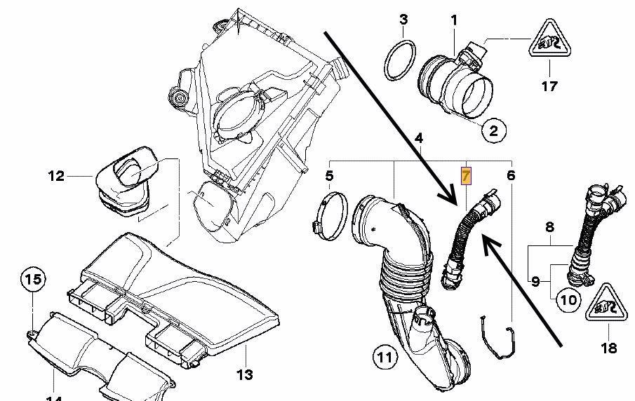 Genuine BMW Rocker Cam Cover Air Filter Intake Breather Pipe N47 N57 13717803842