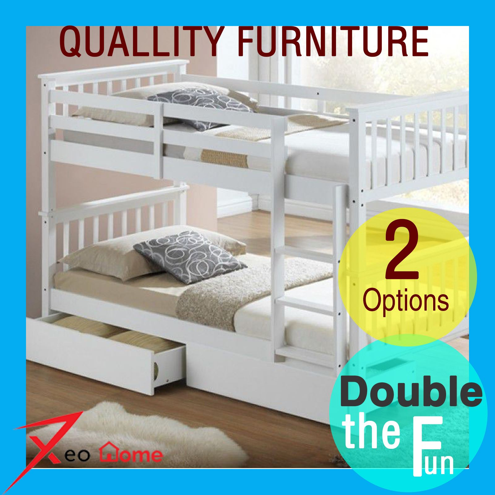 New 3 Ft Single White Solid Wood Kids Bunk Bed With Single Drawer